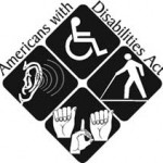 a sqaure image divided in quarters . 1. Wheelchair symbol 2. Ear with a hearing aid 3. 1 hand sign 4. a person walking with cane Letters surrounding it spell American's with Disabilities Act